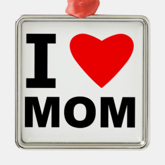 I Love Mom Silver-Colored Square Decoration