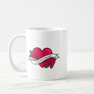 I Love Mom Tattoo Design Coffee Mug
