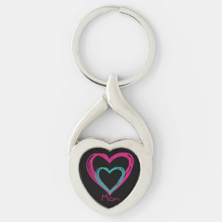 """I love Mom"" Twisted Heart Metal Keychain Silver-Colored Twisted Heart Key Ring"