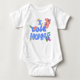"""I Love Mommy"" daisy, lilac, hearts, dragonflies Baby Bodysuit"