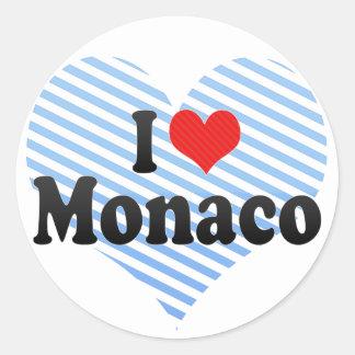 I Love Monaco Round Sticker