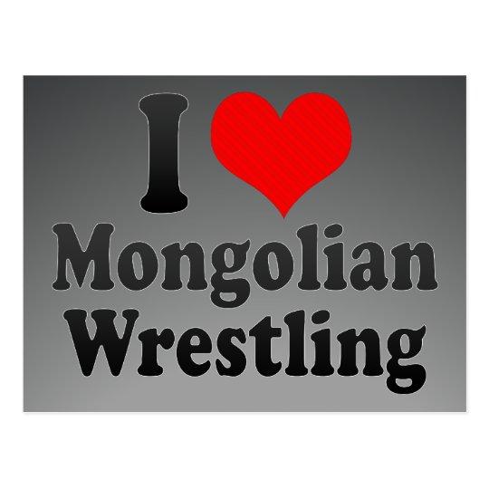 I love Mongolian Wrestling Postcard