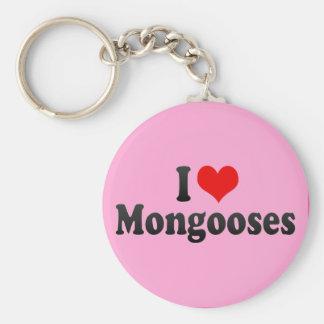 I Love Mongooses Basic Round Button Key Ring