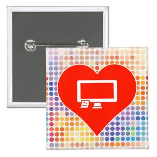 I Love Monitor 15 Cm Square Badge