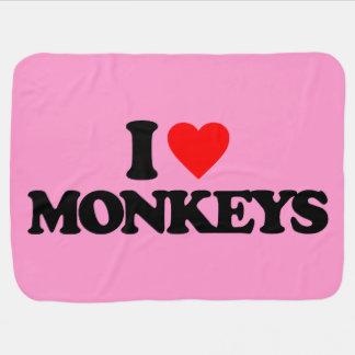 I LOVE MONKEYS STROLLER BLANKET