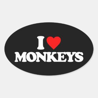 I LOVE MONKEYS OVAL STICKER