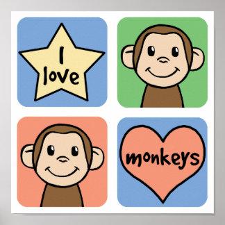 I Love Monkeys Posters