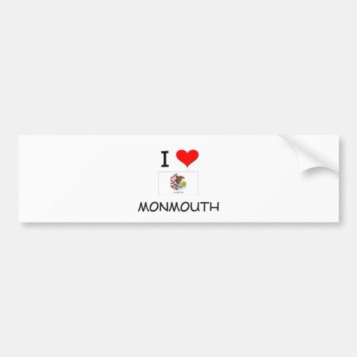 I Love MONMOUTH Illinois Bumper Stickers