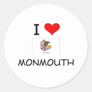 I Love MONMOUTH Illinois Round Stickers