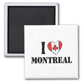 I Love Montreal Canada Square Magnet