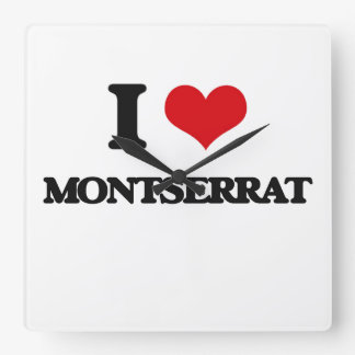 I Love Montserrat Square Wall Clock