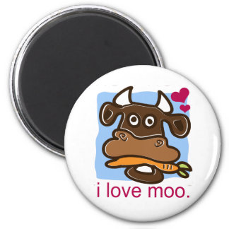 I Love Moo 6 Cm Round Magnet