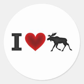 I Love Moose Classic Round Sticker
