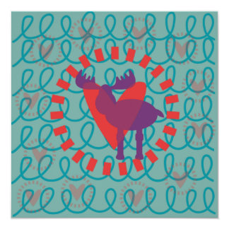 I love Moose Heart Doodle Nature Lover Design 13 Cm X 13 Cm Square Invitation Card