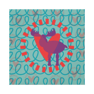 I love Moose Heart Doodle Nature Lover Design Gallery Wrapped Canvas