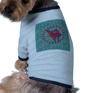 I love Moose Heart Doodle Nature Lover Design Pet Tee
