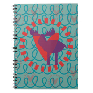 I love Moose Heart Doodle Nature Lover Design Note Book