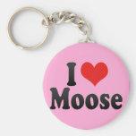 I Love Moose Key Chain