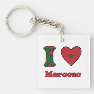 I love Morocco Single-Sided Square Acrylic Key Ring