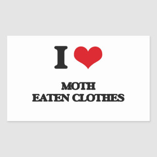 I Love Moth Eaten Clothes Rectangle Sticker