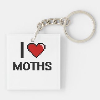 I Love Moths Digital Retro Design Double-Sided Square Acrylic Keychain