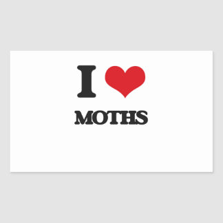 I Love Moths Rectangular Stickers