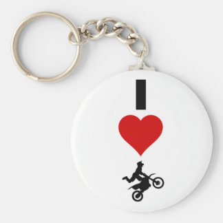 I Love Motocross (Vertical) Basic Round Button Key Ring