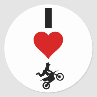 I Love Motocross (Vertical) Classic Round Sticker
