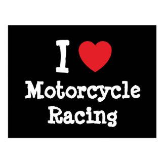 I love Motorcycle Racing heart custom personalized Postcard