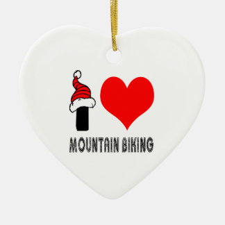 I Love Mountain Biking Design Ceramic Heart Decoration