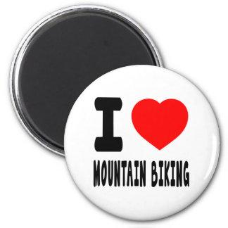 I Love Mountain Biking Refrigerator Magnets
