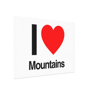 i love mountains stretched canvas print