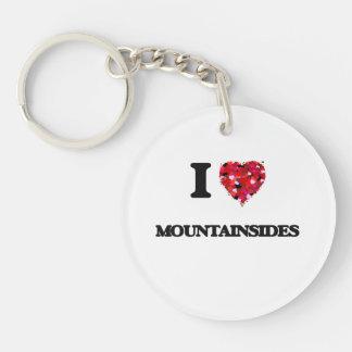 I Love Mountainsides Single-Sided Round Acrylic Key Ring