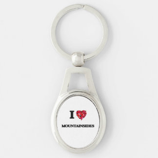 I Love Mountainsides Silver-Colored Oval Key Ring