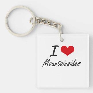 I Love Mountainsides Single-Sided Square Acrylic Key Ring