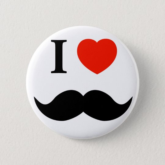 i love moustache 6 cm round badge