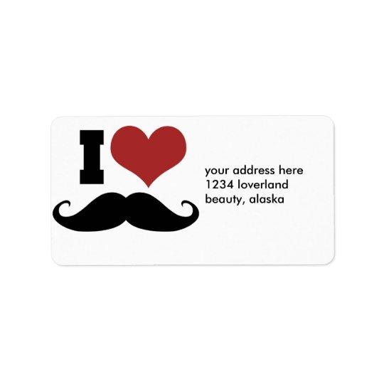 I Love Moustache Address Label