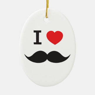 I Love Moustache Christmas Ornament