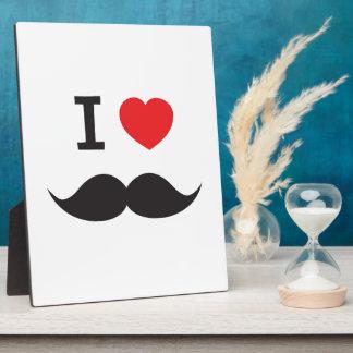 I Love Moustache Plaque