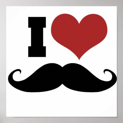 I Love Moustache Poster