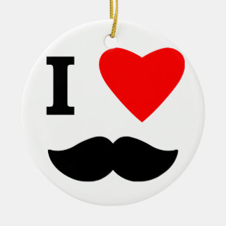 I Love Moustaches Christmas Ornament