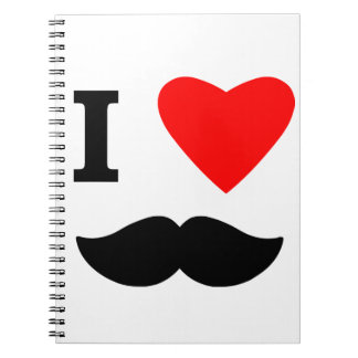 I Love Moustaches Spiral Notebook