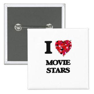 I Love Movie Stars 15 Cm Square Badge