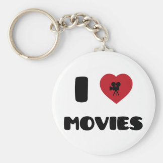 I Love Movies Basic Round Button Key Ring