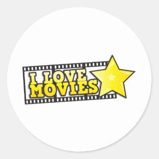 I love movies round stickers
