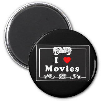 I Love Movies with Silent Movie Flair 6 Cm Round Magnet