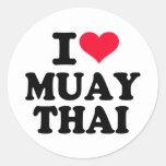 I love Muay Thai Classic Round Sticker
