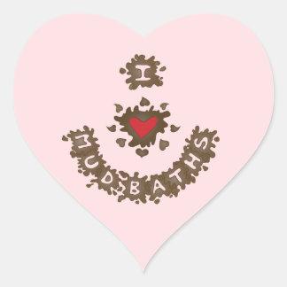 I Love Mud Baths Heart Sticker