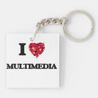 I Love Multimedia Double-Sided Square Acrylic Key Ring