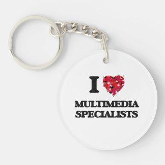 I love Multimedia Specialists Single-Sided Round Acrylic Key Ring
